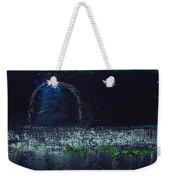 Weekender Tote Bag featuring the painting Once In A Blue Moon by Kim Nelson