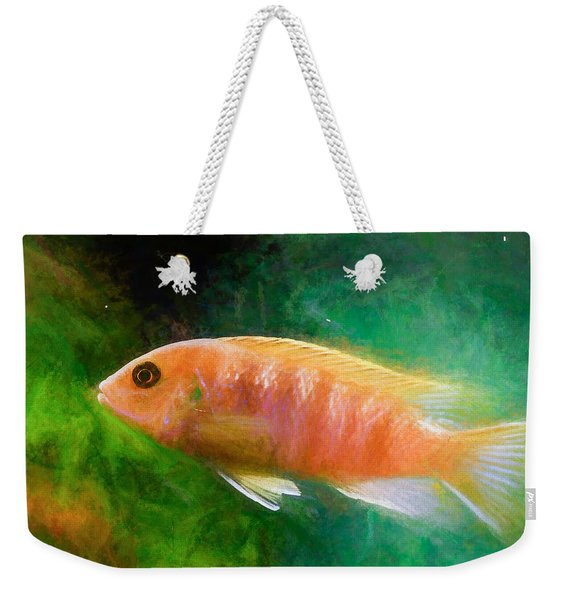 Orange Cichlid Chalk Smudge Weekender Tote Bag