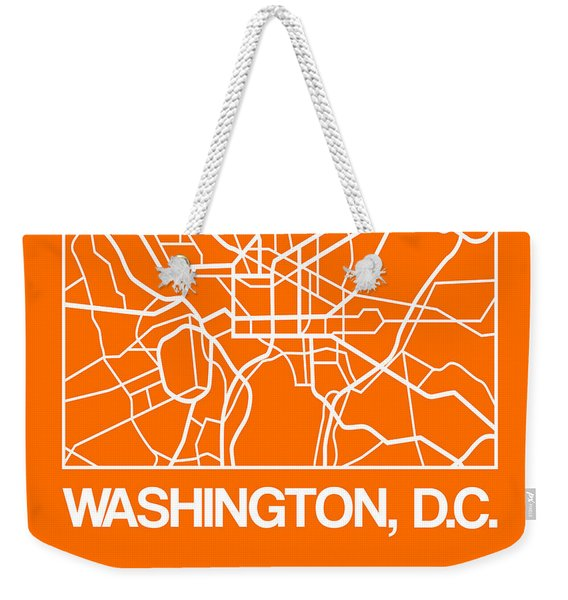 Orange Map Of Washington, D.c. Weekender Tote Bag