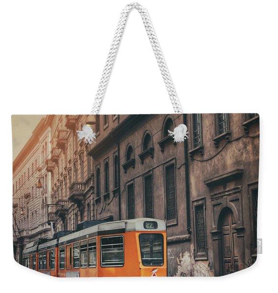 Orange Tram Milan Italy Weekender Tote Bag