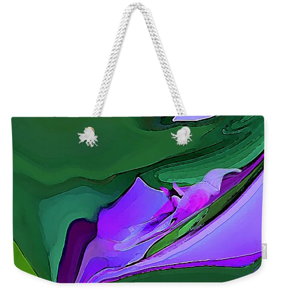 Weekender Tote Bag featuring the digital art Orchids And Emeralds by Gina Harrison