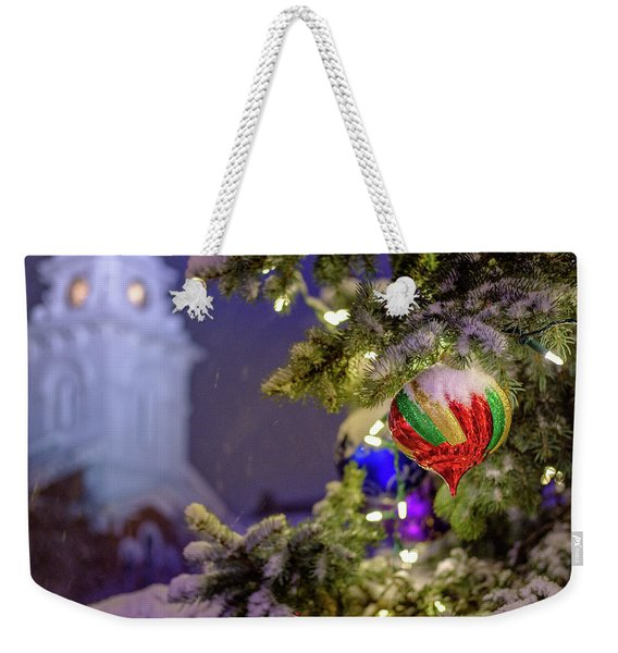 Ornament, Market Square Christmas Tree Weekender Tote Bag