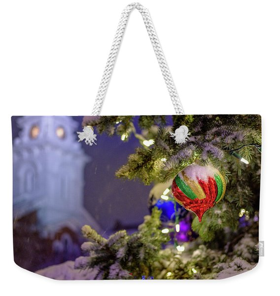 Weekender Tote Bag featuring the photograph Ornament, Market Square Christmas Tree by Jeff Sinon
