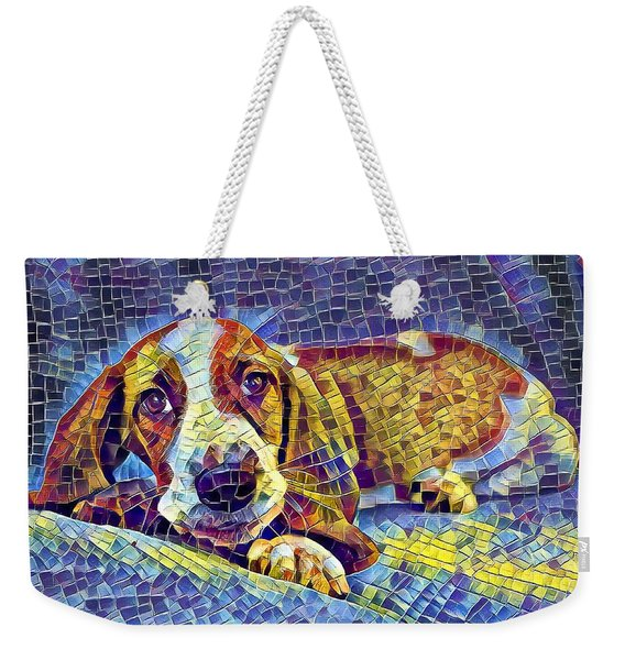 Weekender Tote Bag featuring the digital art Otis The Potus Basset Hound Dog Art  by Don Northup