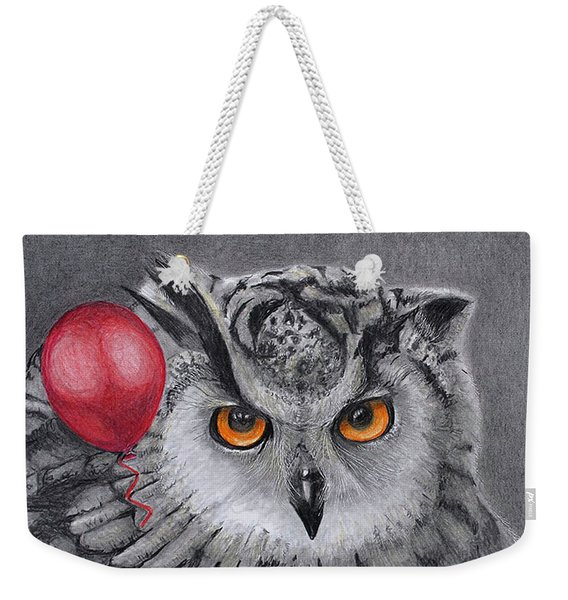 Owl With The Red Balloon Weekender Tote Bag