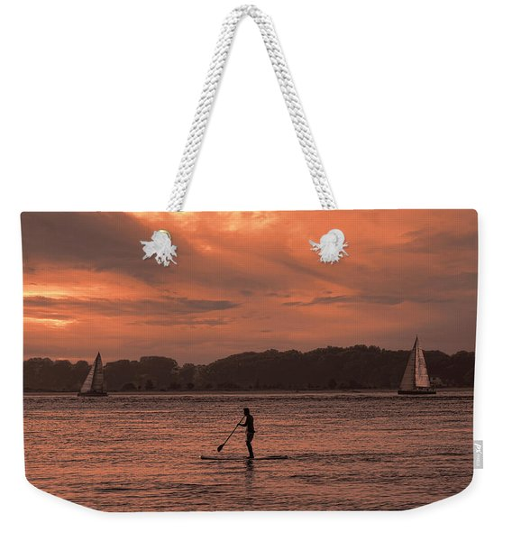 Paddleboarding On The Great Peconic Bay Weekender Tote Bag
