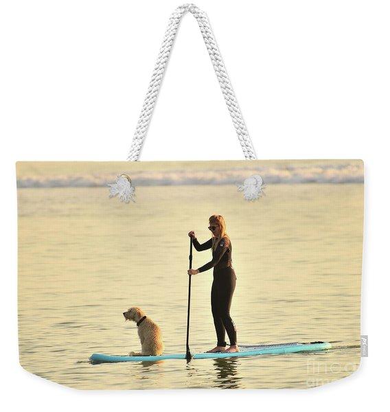 Paddleboarding With Her Dog Weekender Tote Bag