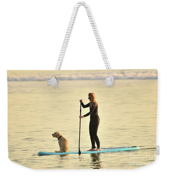Paddleboarding With Her Dog Weekender Tote Bag