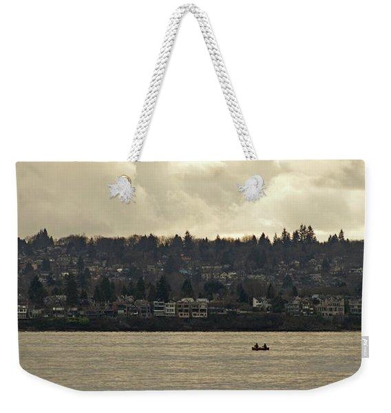 Paddling Under A Winter Sky  Weekender Tote Bag