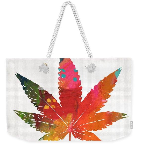 Painted Cannabis Leaf 1- Art By Linda Woods Weekender Tote Bag