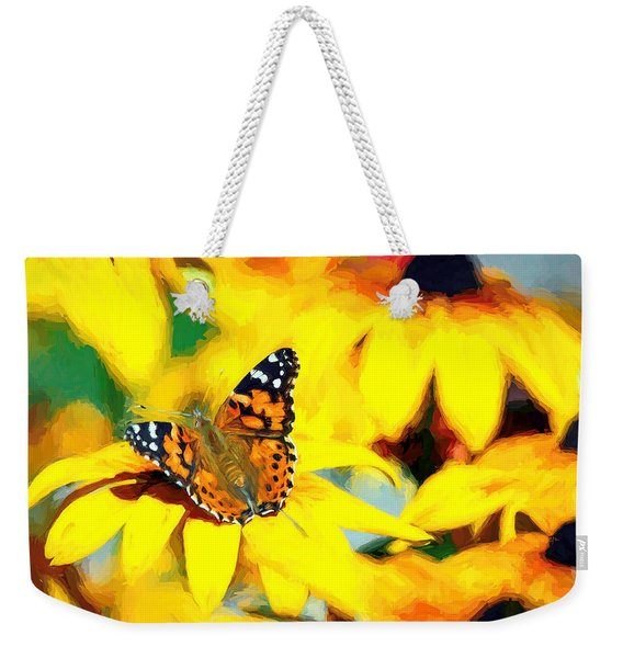 Weekender Tote Bag featuring the photograph Painted Lady Butterfly Van Gogh by Don Northup