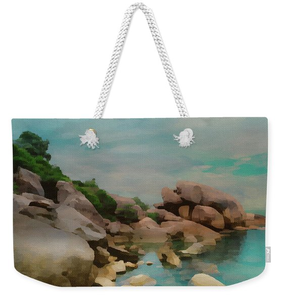 Painted Rocks At Full Tide Weekender Tote Bag