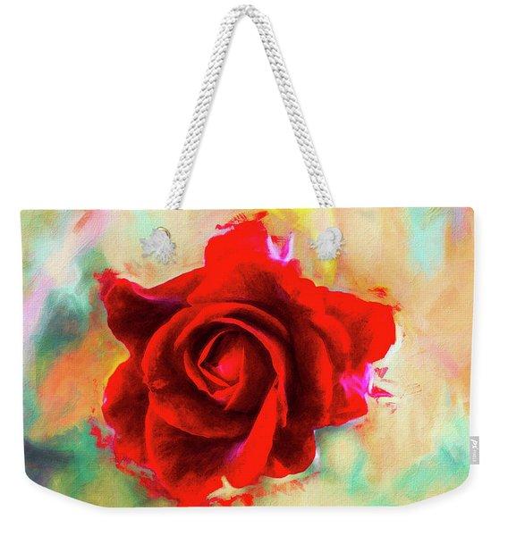 Painted Rose On Colorful Stucco Weekender Tote Bag