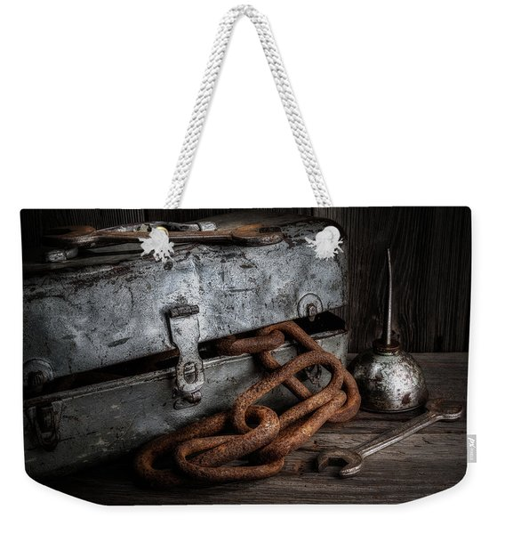 Painted Toolbox And Chain Weekender Tote Bag