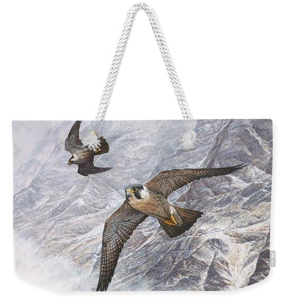 Pair Of Peregrine Falcons In Flight Weekender Tote Bag