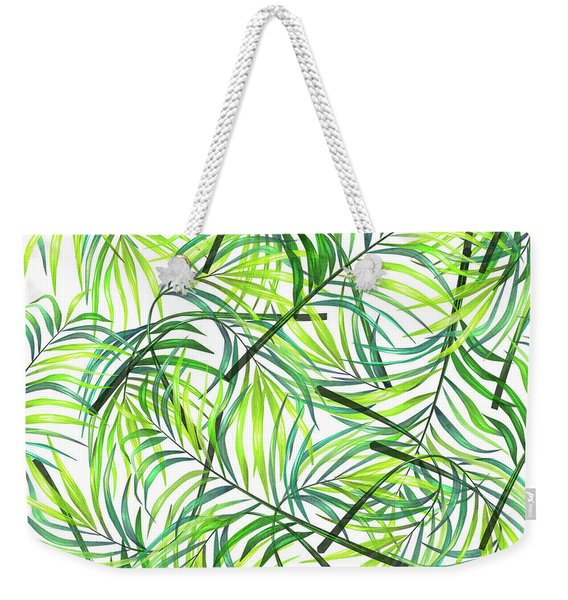 Palm Leaf Pattern 1 - Tropical Leaf Pattern - Green, White - Tropical, Botanical Pattern Design Weekender Tote Bag