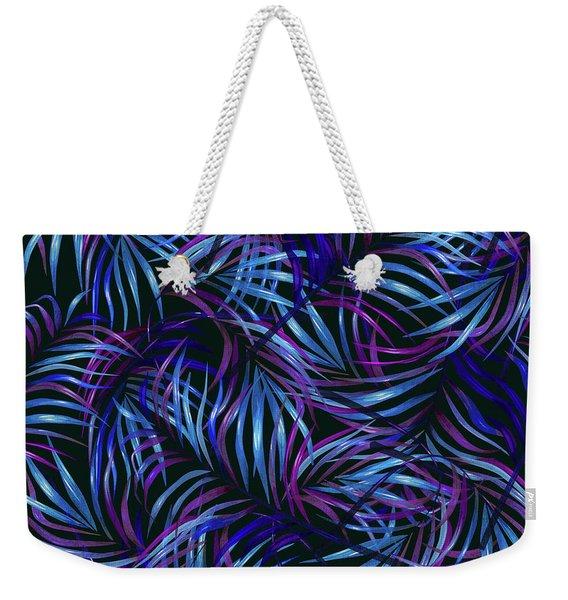 Palm Leaf Pattern 4 - Tropical Leaf Pattern - Blue, Purple, Violet - Tropical, Botanical Design Weekender Tote Bag