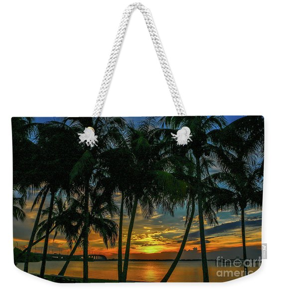 Weekender Tote Bag featuring the photograph Palm Tree Lagoon Sunrise by Tom Claud