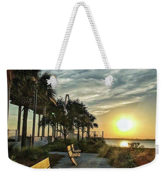 Palm Tree Sunset Weekender Tote Bag
