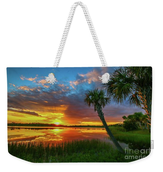 Weekender Tote Bag featuring the photograph Palm Tree Sunset by Tom Claud