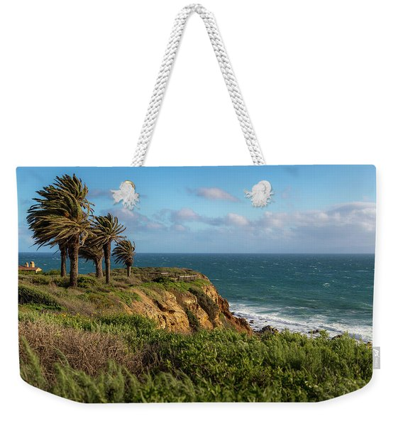 Weekender Tote Bag featuring the photograph Palm Trees Blowing In The Wind by Andy Konieczny