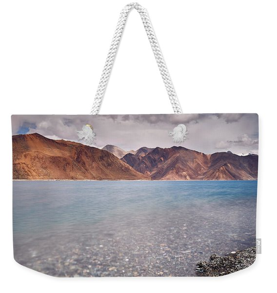 Weekender Tote Bag featuring the photograph Pangong Tso by Whitney Goodey