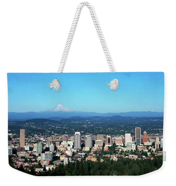 Panorama Of City With Mount Hood Weekender Tote Bag