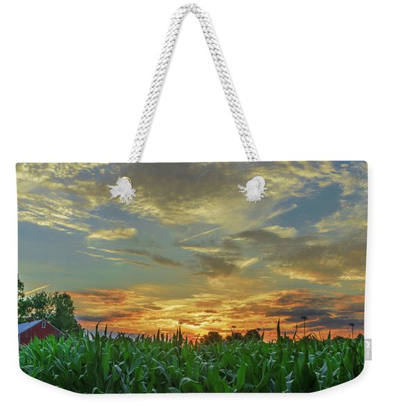 Panoramic Cornfield Sunset Weekender Tote Bag