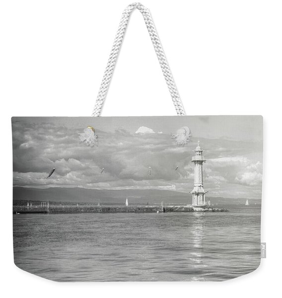Paquis Lighthouse Geneva Black And White  Weekender Tote Bag