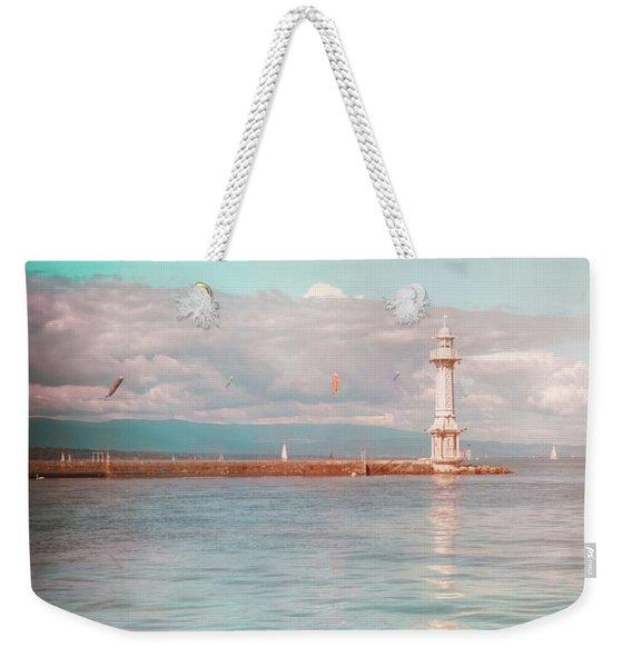 Paquis Lighthouse Geneva Weekender Tote Bag