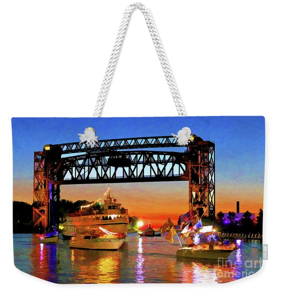 Parade Of Lighted Boats Weekender Tote Bag