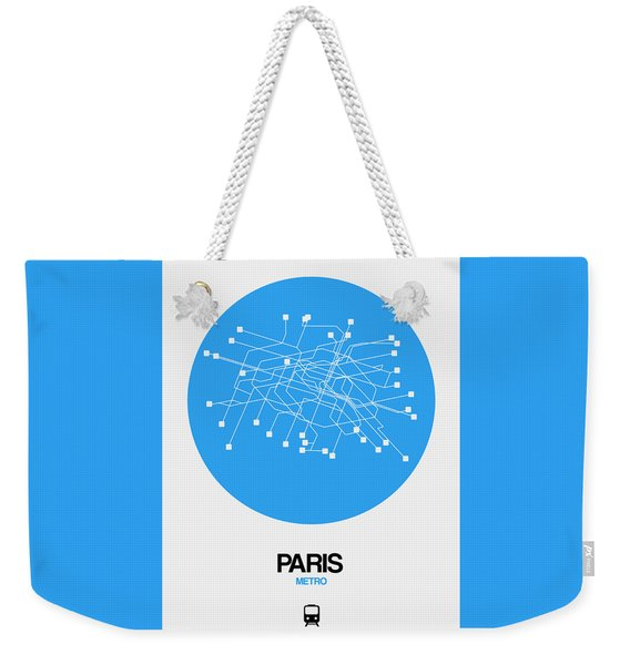 Paris Blue Subway Map Weekender Tote Bag