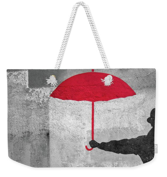 Paris Graffiti Man With Red Umbrella Weekender Tote Bag