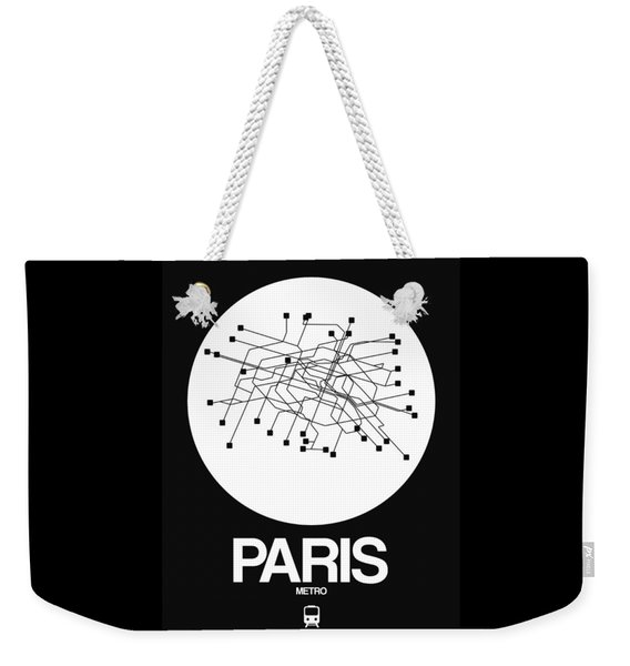 Paris White Subway Map Weekender Tote Bag