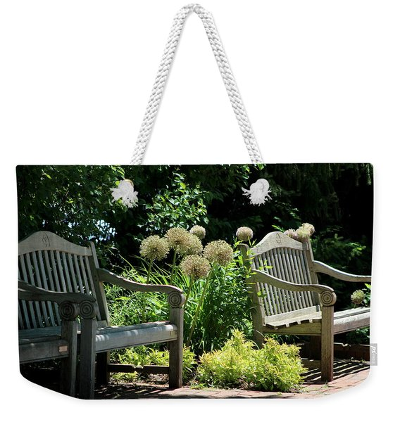 Park Benches At Chicago Botanical Gardens Weekender Tote Bag