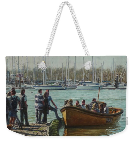 Passengers Boarding The Hamble Water Taxi In Hampshire Weekender Tote Bag