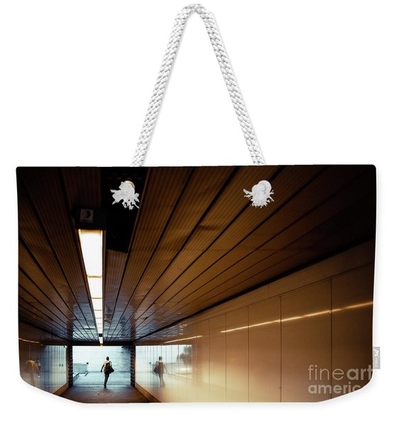 Passengers In A Hurry At The End Of A Tunnel At The Entrance To The Metro Station. Weekender Tote Bag