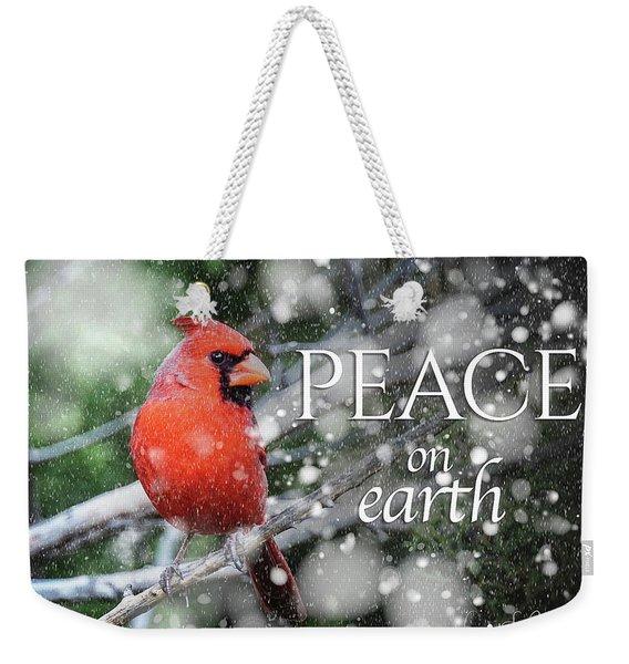 Peace On Earth W/cardinal Weekender Tote Bag