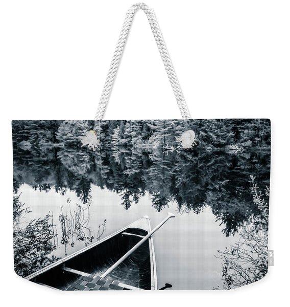 Peaceful Lakeside Canoe Weekender Tote Bag