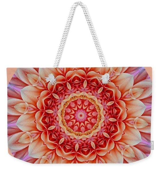 Peach Floral Mandala Weekender Tote Bag