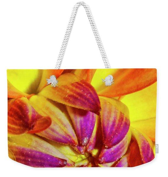 Peach Purple Flower Weekender Tote Bag