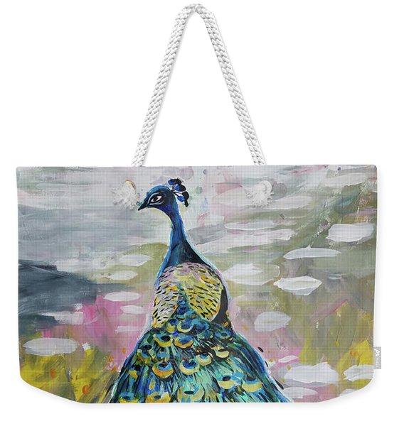 Peacock In Dappled Light Weekender Tote Bag
