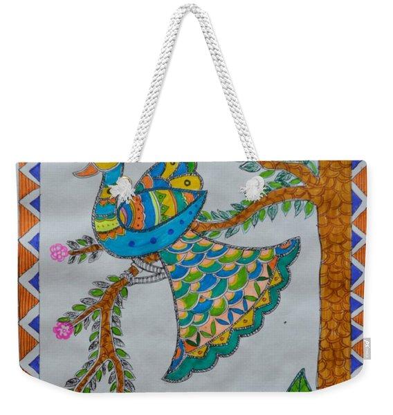 Peacock In Madhubani Weekender Tote Bag