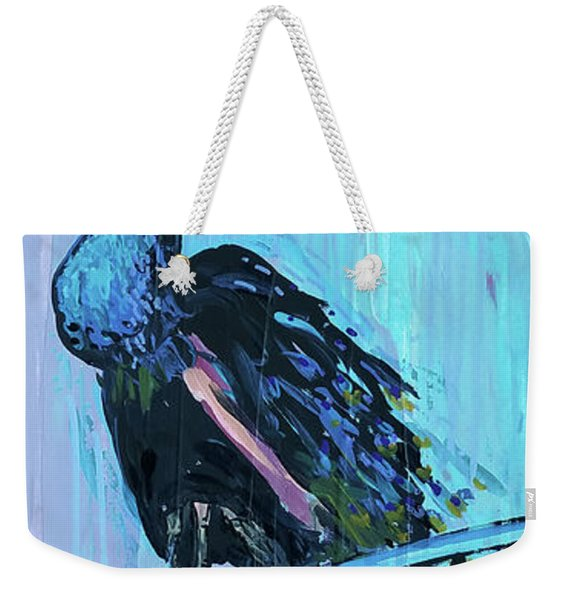 Peacock On A Fence Weekender Tote Bag