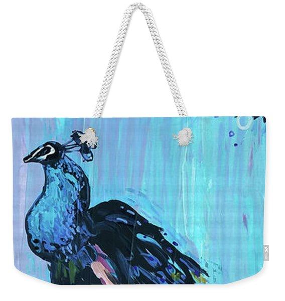 Peacock On A Fence Weekender Tote Bag