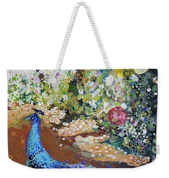 Peacock On Path Weekender Tote Bag