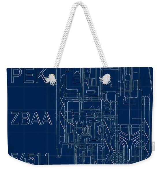 Pek Beijing Capital Airport Blueprint Weekender Tote Bag