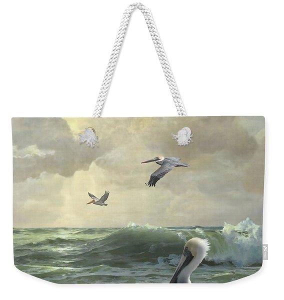 Pelicans In The Surf Weekender Tote Bag