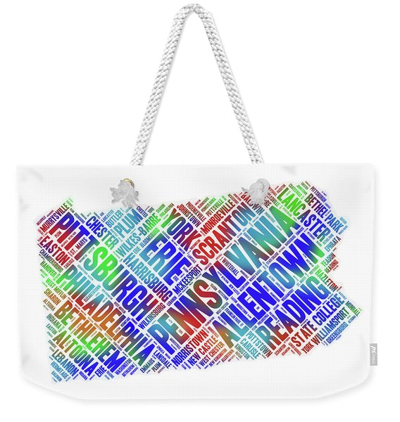 Pennsylvania Word Art State Map With Cities Weekender Tote Bag