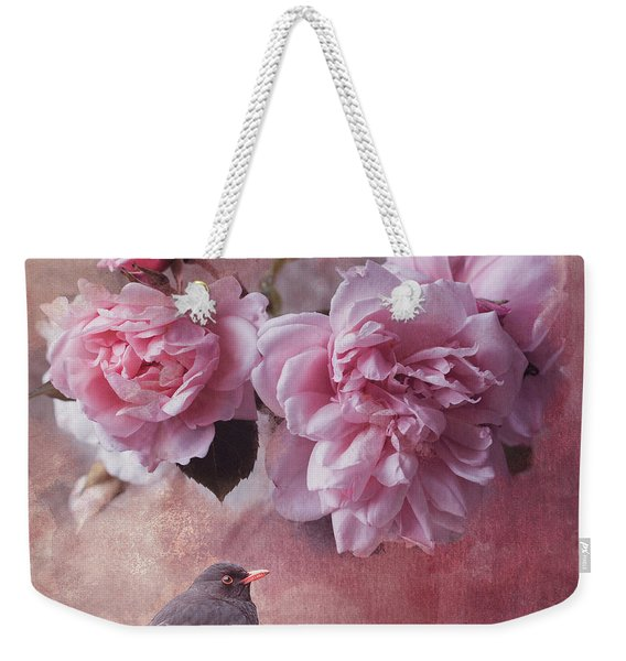 Peonies And Blackbird Weekender Tote Bag